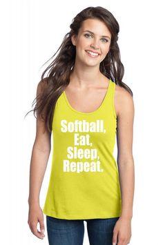 softball eat sleep repeat 1 Racerback Tank