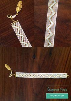 Miyuki Bead Jewellery, Seed Bead Jewelry, Beaded Jewelry, Jewelery, Bead Loom Patterns, Bracelet Patterns, Motifs Perler, Bead Loom Bracelets, Tear