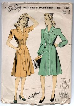 "1940's DuBarry Princess Dress, One-Piece, Button-Up Pattern - Bust 32"" - No. 5265 by backroomfinds on Etsy"