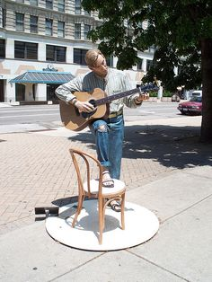 Man with guitar sculpture in downtown..... Dayton, Ohio