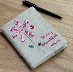 Personalised Embroidered Notebook   Flower