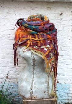 Felt art: a lovely felted scarf with silk ruffles in automne colors.