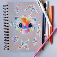 Colorful Mew Crystal. By Geekalemon. Prismacolor pencils on Strathmore Toned Tan paper. Pokemon. Nintendo. Fan Art. Anime. Manga. Videogame. Pokemon Master. Pokemon Trainer. Pokemon art.
