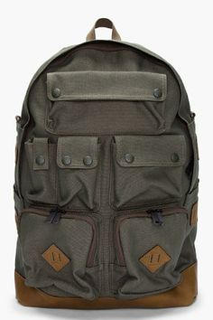 White Mountaineering Olive Cargo Daypack for Men | SSENSE