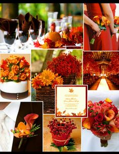 Red and orange. Fall wedding