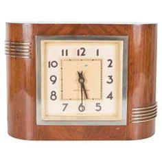 Streamlined Electric Art Deco Clock by Seth Thomas in Bookmatched Walnut
