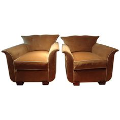 Pair of Period French Art Deco Upholstered Club Chairs | From a unique collection of antique and modern club chairs at http://www.1stdibs.com/furniture/seating/club-chairs/