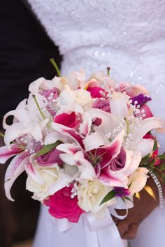 Beautiful Stargazer Lilly Bridal Bouquet by Rosemary's Garden