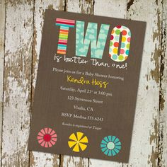 twins baby shower invitations for twins with flowers, digital, printable file (item 153)