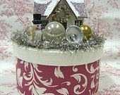 CHRISTMAS DECORATION Vintage Winter Wonderland Christmas Cottage Vignette Keepsake Box
