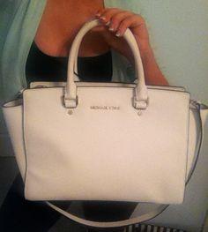 MICHAEL KORS Large OPTIC WHITE Saffiano Leather SELMA Satchel Bag Purse Tote