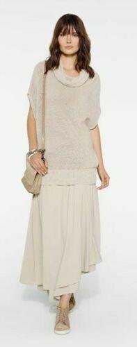 Super soft and stretchy, comfortable and ultra-stylish skirt. Long Tunic Tops, Tunic Tank Tops, Tank Top Shirt, Sarah Pacini, Khaki Dress, Linen Tunic, Asymmetrical Skirt, Layered Skirt, Beige Color