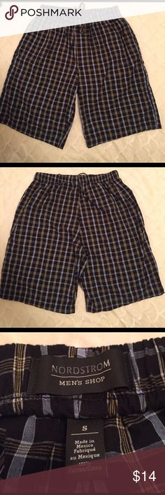 "Nordstrom Men's Plaid Pajama Shorts They have pockets, a button fly, and tie string. I see nothing wrong with them, but they are secondhand, but fully fuctional.  I have them marked less half price of the original because they are ""Less than Perfect"". I have two Pair, one Large and One Small. They are 12.00 a piece or both for $20 for both pair. Please let me know if you want both before purchasing so I can give you the discounted price for both. Thank you! Nordstrom Men's shop  Underwear…"