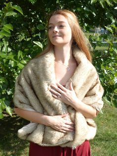 Faux wolf fur wrap with champagne lining by ThePlatinumBee on Etsy