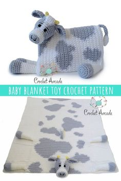 Cuddle and Play Cow Baby Blanket Crochet Pattern is the best one I did so far, i. - Nicki's Homemade Crafts - Free Crochet Patterns & Tutorials Cuddle and Play Cow Baby Blanket Crochet Pattern is th Crochet Cow, Manta Crochet, Crochet Baby Booties, Cute Crochet, Crochet Animals, Easy Crochet, Crochet Ideas, Kids Crochet, Crochet Projects