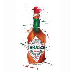 Tabasco watercolor & ink packaging illustration by Georgina Luck Watercolor Food, Watercolor And Ink, Watercolor Illustration, Georgina Luck, Tabasco Pepper, Sauce Barbecue, Food Sketch, Ketchup, Kitchen Art