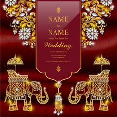 Luxury Wedding invitation Vectors, Photos and PSD files Indian Wedding Invitation Cards, Wedding Invitation Background, Indian Wedding Invitations, Wedding Invitation Card Template, Wedding Invitation Templates, Wedding Stationery, Wedding Card Format, Stationery Set, Marriage Invitation Card