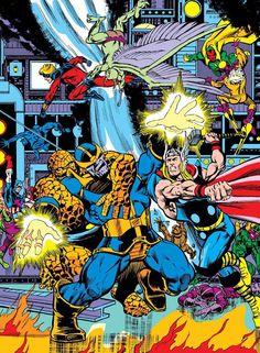 Avengers & Captain Marvel vs Thanos Avengers vs Thanos by Jim Starlin. Ms Marvel, Marvel Comics Superheroes, Marvel Comic Universe, Comics Universe, Marvel Art, Marvel Heroes, Captain Marvel, Mundo Marvel, Marvel Villains