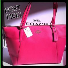 """✨COACH tote  HP BEST IN BAGS Perfect spring and summer handbag!  100% Authentic COACH AVA II pebble leather tote.  Pink Ruby color with gold hardware.  2 large exterior pockets on each side.  2 slip pockets and 1 zip pocket inside.   Measures 17"""" wide across the top and tapers to 12.5"""" across the bottom, 4"""" deep, 10.5"""" high.  Brand new with tags!  Gorgeous bag!!! Coach Bags Totes"""
