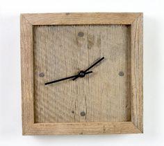 Wall clock of salvaged rough sawn white oak.