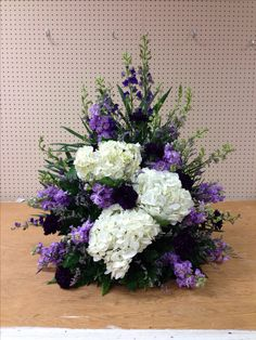 Purple and white alter arrangement for church with hydrangea, wedding flowers, memphis, tn