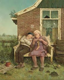 by Marius van Dokkum - Dutch Artist and Illustrator via Alie Azami Illustrations, Art And Illustration, Tricot D'art, Art Carte, Growing Old Together, Old Couples, Knit Art, Old Age, Dutch Painters