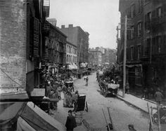 Mulberry Bend was one of the worst parts in the Five Points, with multiple back alleyways such as Bandit's Roost, Bottle Alley and Ragpickers Row. In 1897, it was razed and turned into Columbus Park by Calvert Vaux