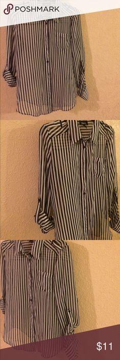 Sheer blouse new like condition Black & white stripes. Sheer blouse wear sleeves long or 3/4 Iz Byer Tops Blouses