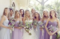 Loving the #lavender #purple combo for these soft #bridesmaids dresses.  From lover.ly