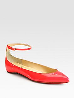 Christian Louboutin - Mrs. H Patent Leather Ankle Strap Ballet Flats