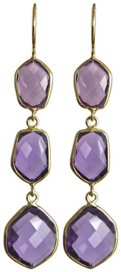 Gold Amethyst Gemstone Stack Earring