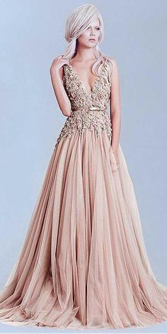Charming Tulle V-Neck A-Line Evening Dresses With Lace Appliques PG504 fa6ccd3f5