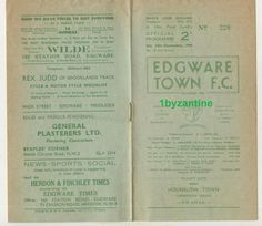 1949 Edgware v Hounslow Town London non League Football Programme Corinthian Football Program, Corinthian, Programming, London, Ebay, Computer Programming, London England, Coding