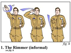 This instructional diagram illustrates the essential steps of an Arnold Rimmer salute
