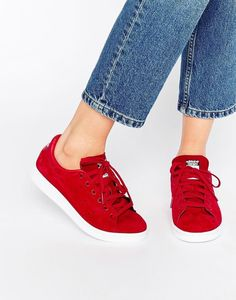 9a2da7a823 Get them from Asos for $98. Stan Smith Trainers, Stan Smith Sneakers, Red