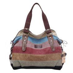 Koolertron Fashion Vintage Women s Shoulder Color block Bag Canvas Tote  Messenger Lady s Handbag Purse Canvas Tote 80db1d97e4