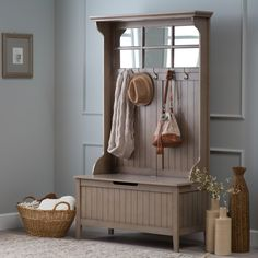 Hall tree with storage bench- Driftwood gray