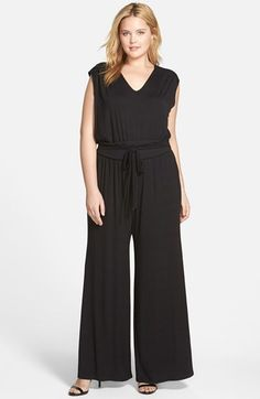Sejour Wide Leg Jersey V-Neck Jumpsuit >>> You can find out more details at the link of the image.