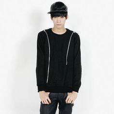 Remember Click Zipper Accents Black Pullover BLACK S M L Korean Wear #RememberClick #BasicTee