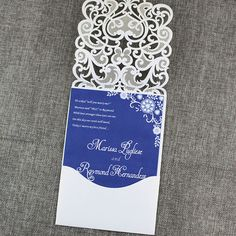 Navy Blue laser cut wedding invitations Lace by gracefulpaperie