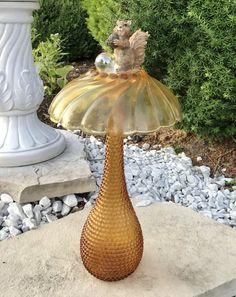 Vintage Amber Garden Bottle Mushroom Art Glass with Squirrel with Acorn - Modern Glass Garden Flowers, Glass Garden Art, Art Flowers, Garden Totems, Colorful Flowers, Garden Statues, Bottle Garden, Garden Pond, Purple Flowers