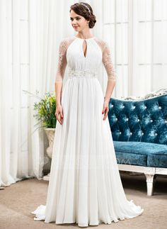A-Line/Princess Scoop Neck Sweep Train Chiffon Wedding Dress With Ruffle Beading Sequins (002057489) - JJsHouse