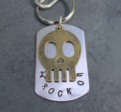 Stamped Metal KeyRing Rock On by FHGoldDesigns on Etsy, $8.50 #metal stamping, #metal stamped keychain, #skull keychain