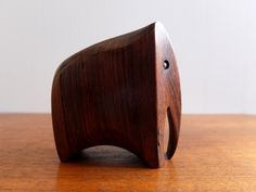 Carved wood and brass elephant mini-sculpture by San Diego artist Keith Stephens. $200.00