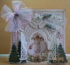 Card made by DT member Astrid with among others Creatables Tiny's Vintage Labels (LR0334) and Petra's Bells (LR0337) by Marianne Design
