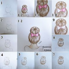 brown hair, bun hair, hair, how to draw, perfect, step, artist: suzanna zijlstra