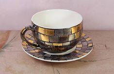 Porcelain tea cup and saucer Byzantine mosaic