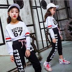 Meninas Esfriar Algodão Traje Competição de Dança de Salão Jazz Hip Hop Topos de Culturas Camisa Calças para Crianças Roupas de Dança Roupas de Desgaste