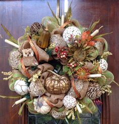 Owl Burlap and Mesh Fall Wreath by HertasWreaths on Etsy, $165.00