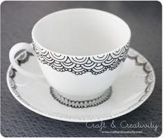 Decorated with Porcelain Pen  http://craftandcreativity.com/blog/wp-content/uploads/2013/06/handpaintedcup2.jpg